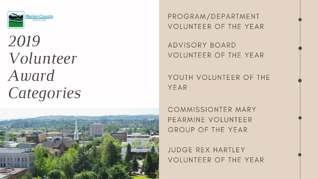 2019 Volunteer Award Categories