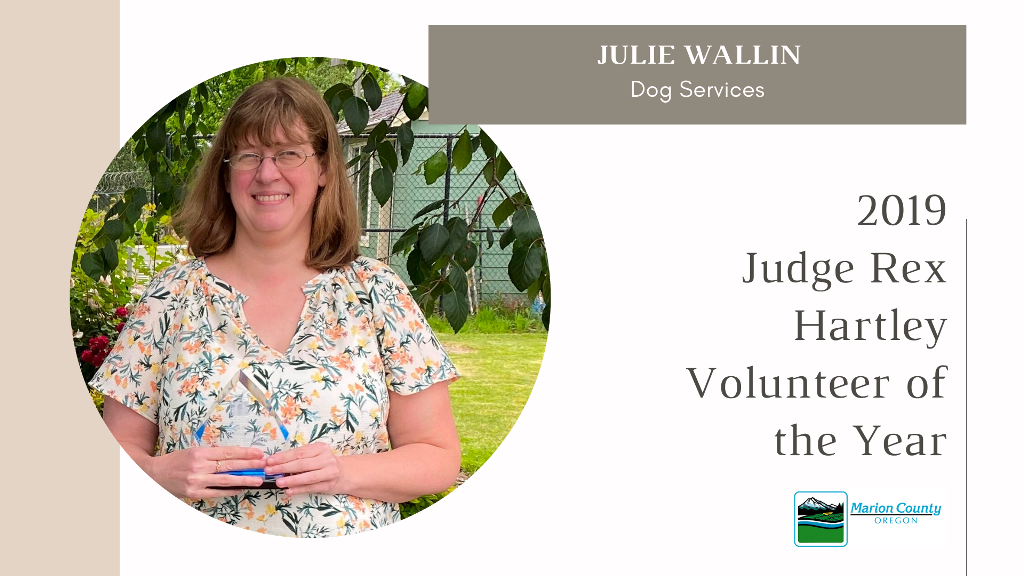 Julie Wallin 2019 Rex Hartley Volunteer of the Year