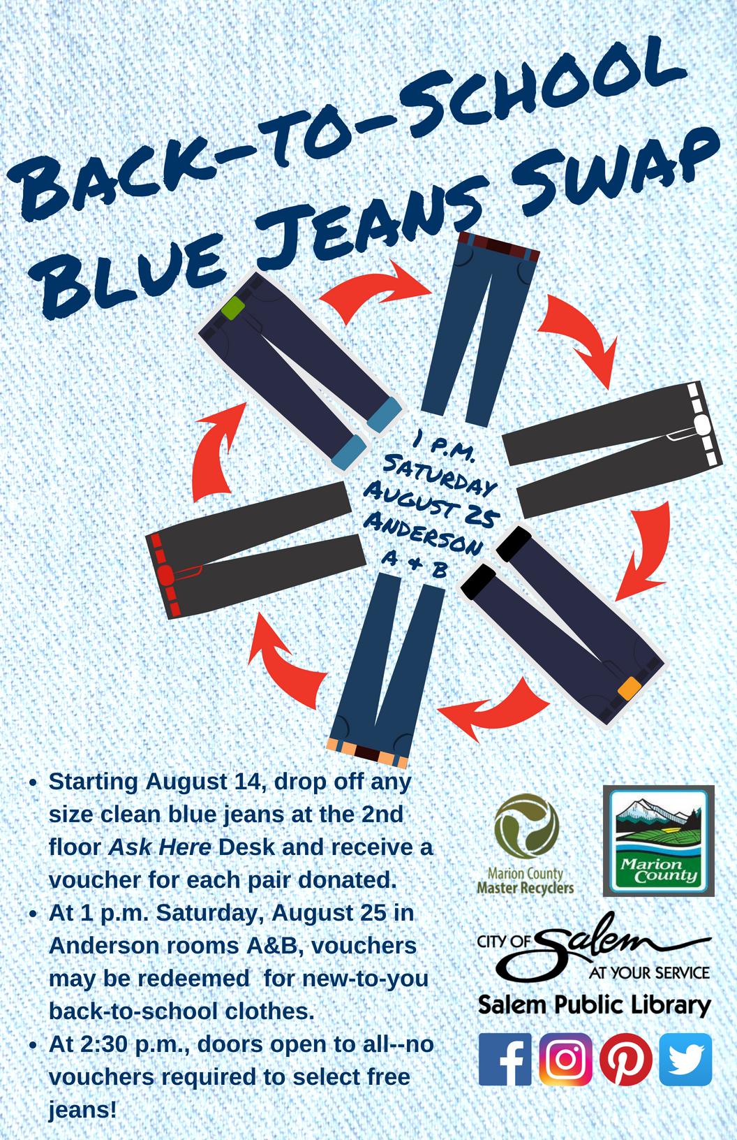 Back to School Blue Jeans Swap poster