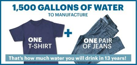 1,500 Gallons of water to manufacture one t-shirt and one pair of jeans
