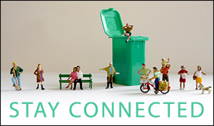 Stay Connected little figures by tiny compost bin