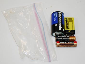 batteries by plastic baggie