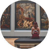 Girl in art museum