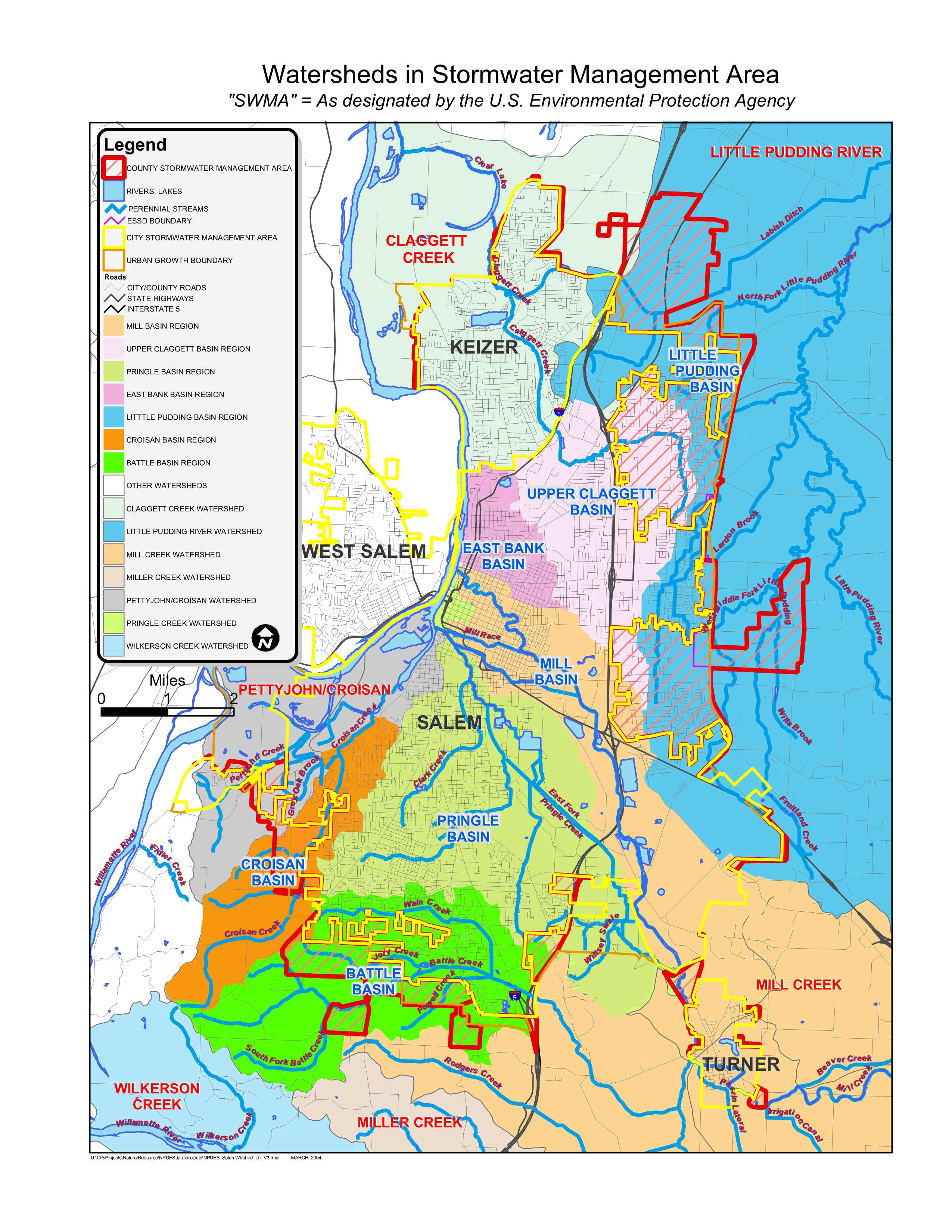 Watersheds in stormwater management area map
