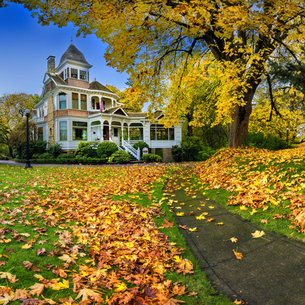 Historic Deepwod Estate with autumn leaves